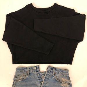 Zara knit black boxy crop ribbed sweater neoprene